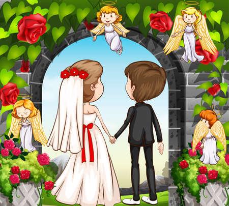 rose garden: Wedding couple at the rose garden illustration Illustration
