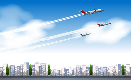 jets: Three jets flying in the sky illustration