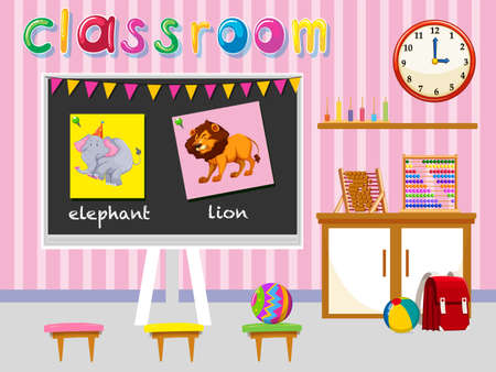 preschool classroom: Kindergarten classroom with board and chairs illustration Illustration
