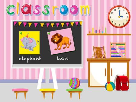 school classroom: Kindergarten classroom with board and chairs illustration Illustration