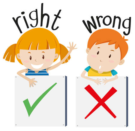 adjectives: Boy with wrong sign and girl with right sign illustration