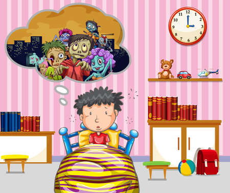 nightmare: Little boy having nightmare illustration