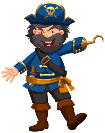 role play: Pirate in blue clothing illustration Illustration