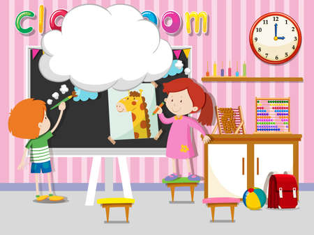 sleeping bags: Boy and girl drawing and painting in classroom illustration