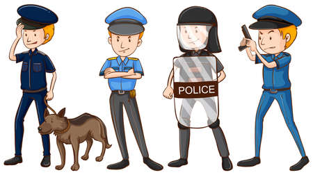 perro policia: La policía en diferentes uniformes de la ilustración Vectores