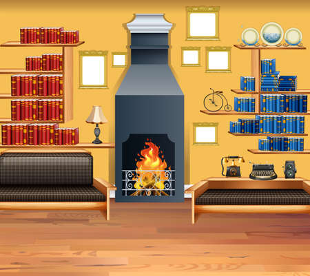 living room design: Living room with fireplace and bookshelves illustration