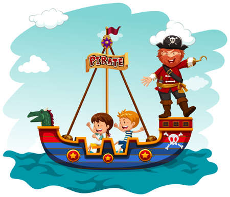 smiling girl: Children riding boat with pirate illustration