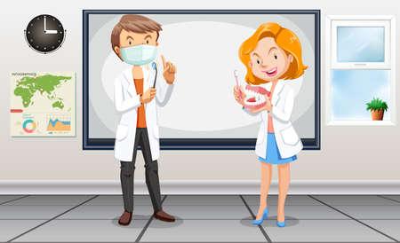 dentista: dentistas masculinos y femeninos con herramientas de ilustraci�n Vectores
