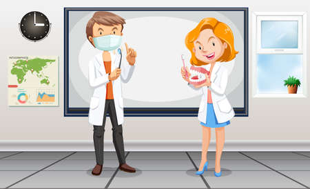 hospital interior: Male and female dentists with tools illustration Illustration