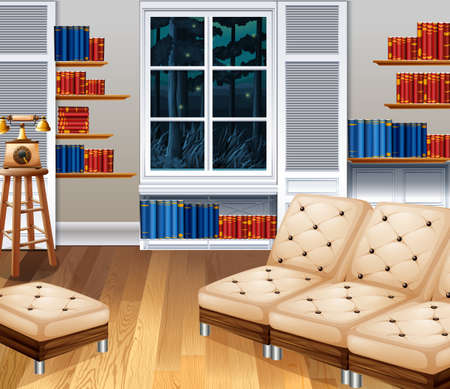 wood chair: Studyroom with sofa and books illustration Illustration