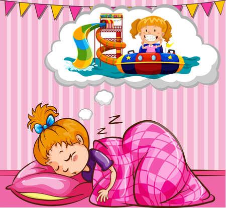 dormir: Chica durmiendo y soñando ilustración
