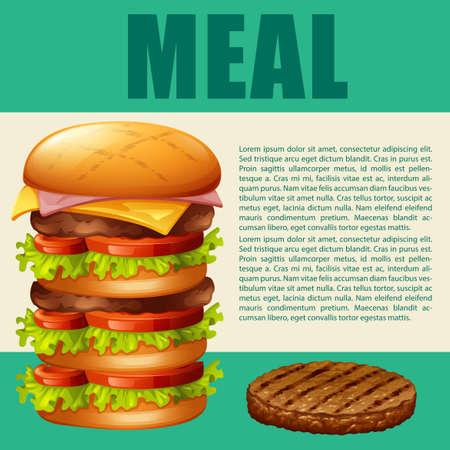 materials: Food theme with hamburger illustration Illustration