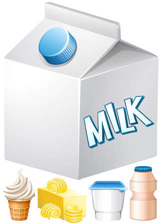 dairy: Dairy products with milk and butter illustration Vectores