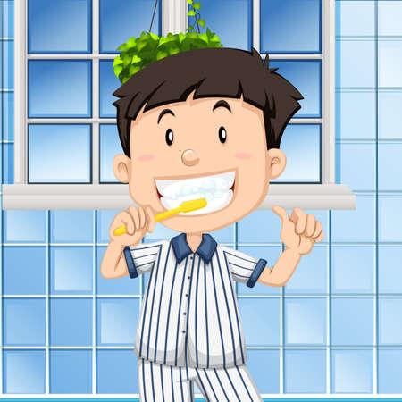 cleaning teeth: Boy brushing teeth in the bathroom illustration
