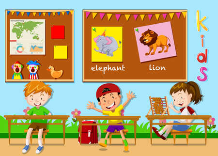 drawing room: Children studying in the classroom illustration Illustration