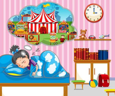 pillows: Girl having good dream in bed illustration