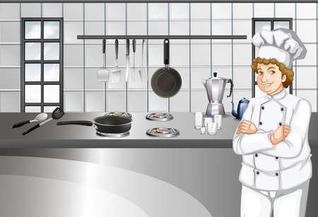 chef kitchen: Chef in white uniform working in kitchen illustration