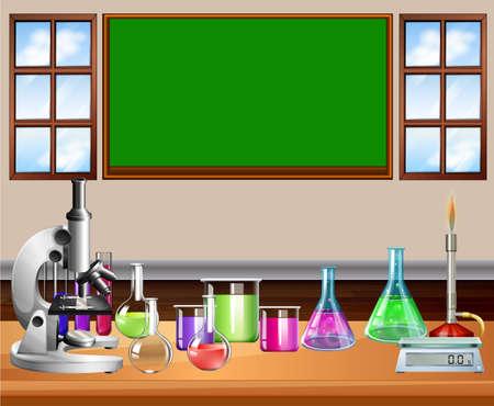 balanza de laboratorio: Aula llena de equipo de la ciencia ilustración Vectores