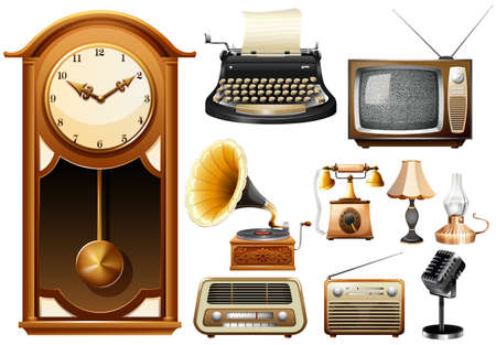 clock radio: Many kind of antique electornic devices illustration