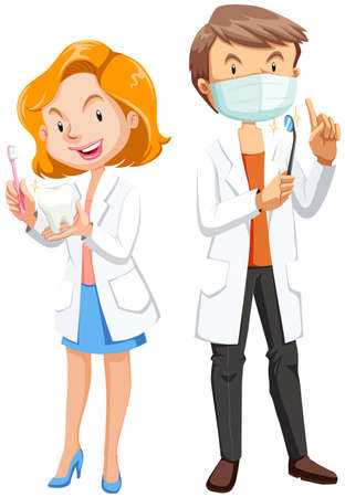 Male and female dentists with tools illustration Illustration