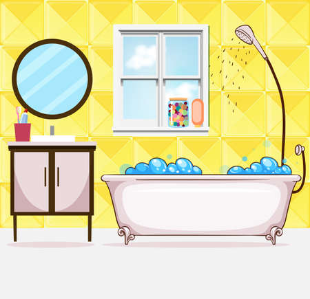 drawing room: Bathroom with tub and shower illustration Illustration