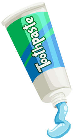 toothpaste: Toothpaste in green and blue tube illustration
