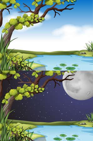 Scène de la nature à jour et de nuit illustration Banque d'images - 48427780