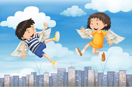 wings bird: Boy and girl with wings flying in the sky illustration