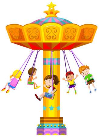 fair play: Children swinging in circle illustration Illustration