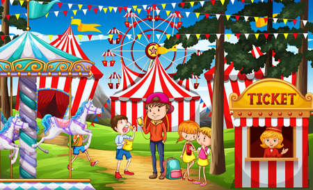 amusement park rides: People having fun at the circus illustration