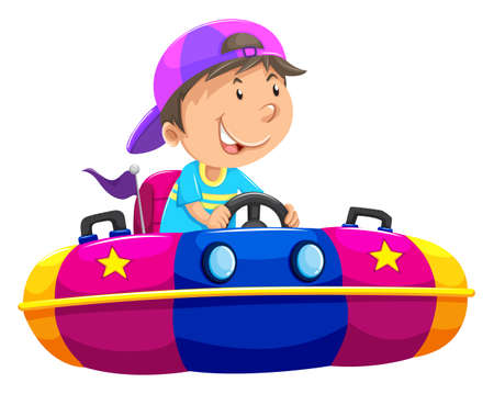bump: Boy riding on bump car illustration Illustration