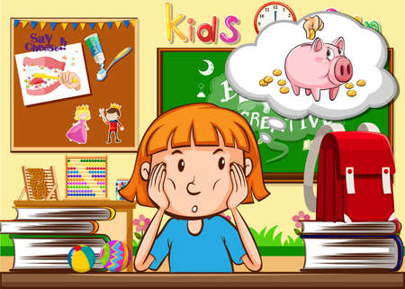 niño escuela: Niña que se sienta en la ilustración aula