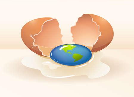 cracking: Save the world theme with cracking egg illustration Illustration
