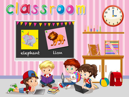 students in class: Children working in the classroom illustration Illustration