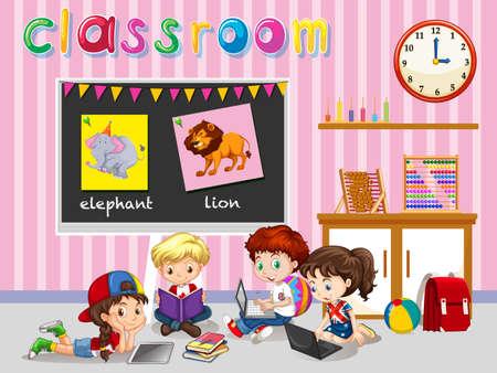 escuela caricatura: Los niños que trabajan en la ilustración aula