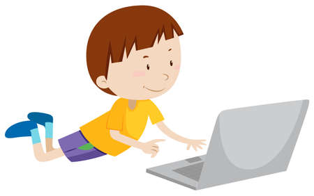 assignments: Little boy working on computer illustration