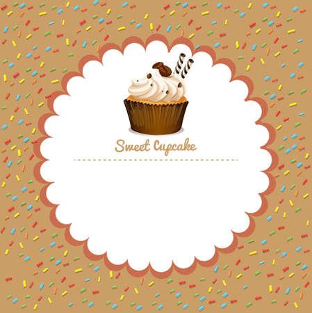 cupcake illustration: Border design with coffee cupcake illustration Illustration