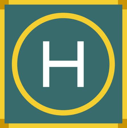 helipad: Helipad with yellow frame illustration Illustration