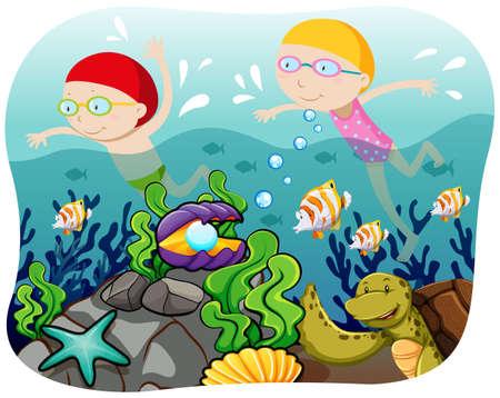 boy swim: Boy and girl swimming in the ocean illustration Illustration