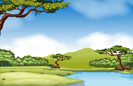 Nature scene with river and field illustration