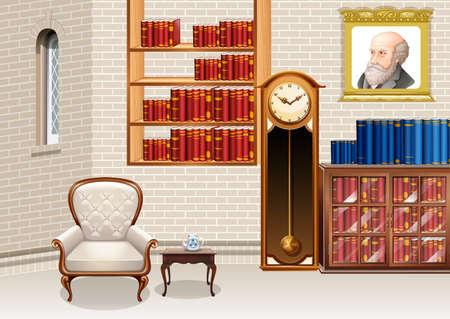 family living room: Living room with bookshelves and furnitures illustration Illustration