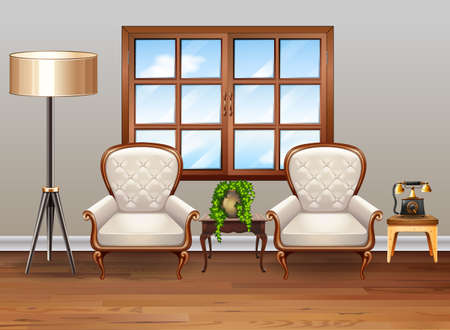 living room design: Living room with luxury armchairs illustration Illustration