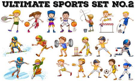 dessin enfants: Diff�rents types de sport illustration Illustration