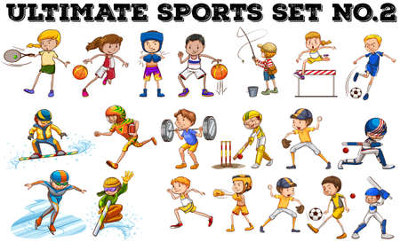 cartoon human: Different kind of sports  illustration