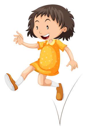 skipping: Little girl in yellow skirt jumping illustration