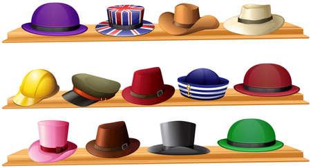 Different kind of hats illustration Illustration
