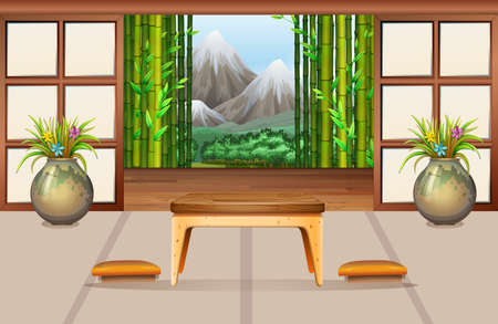 drawing room: Living room in Japanese style illustration Illustration