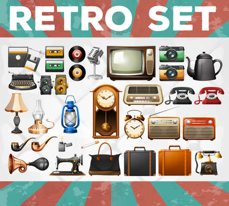 Different kind of retro objects illustration