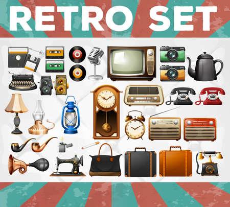 clock radio: Different kind of retro objects illustration