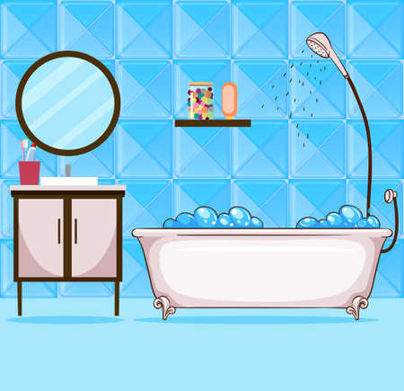 Bathroom with bathtub and shower illustration